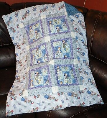 Handmade Patchwork Holly Hobby Blue Purple Baby Quilt Cotton Blanket Unique