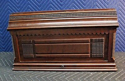 Vintage Victorian Treadle Sewing Machine Wooden Coffin Top Cover Solid Mahogany