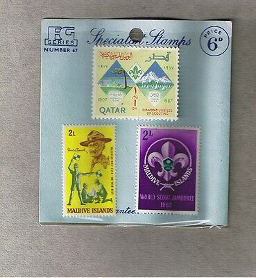 VERY OLD PACKET OF 3 x SCOUT STAMPS