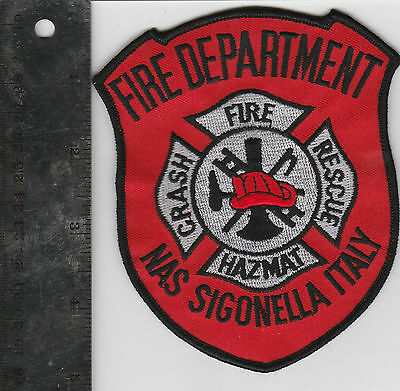 Italy Fire Department Nas Sigonella Embroidered Patch Vintage 90s