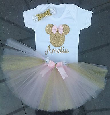 minnie mouse girls first 1st 2nd birthday tutu outfit cake smash handmade pink
