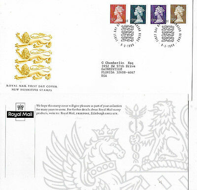 9 MARCH 1999 ALL 4 HIGH VALUE DEFINITIVES ROYAL MAIL FIRST DAY COVER WINDSOR (a