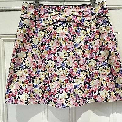 REVIEW Skirt Size 12 Vintage Style Retro Floral Bow As New