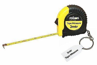 Tape Measure Keyring 2m Rolson Measuring Tapes Retractable DIY Tools Gift Pocket