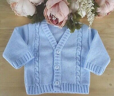 7d65516102f1 BABYPREM BABY CLOTHES Boys Traditional Knitted Blue Cable Cardigan ...