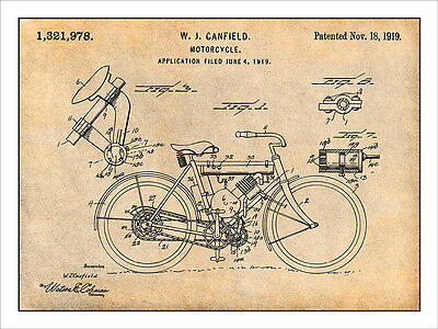 1948 Indian Motorcycle Patent Print Art Drawing Poster 18 X 24