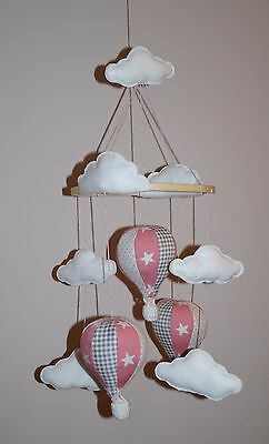 Handmade  hot air balloon nursery baby girl mobile pink and grey