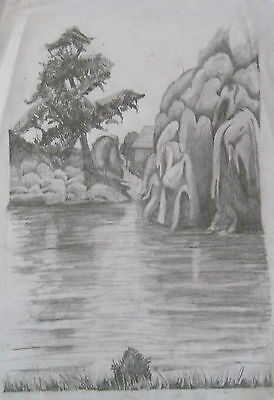Pencil drawing of a River Scene.