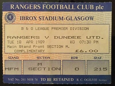 Rangers v Dundee United League Ticket April 1989