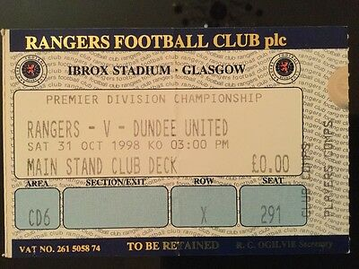 Rangers v Dundee United League Ticket October 1998
