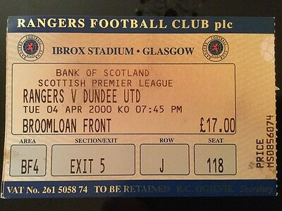 Rangers v Dundee United League Ticket April 2000