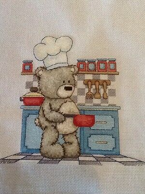 Handmade Completed Unframed Cross Stitch - Bruno in the Kitchen