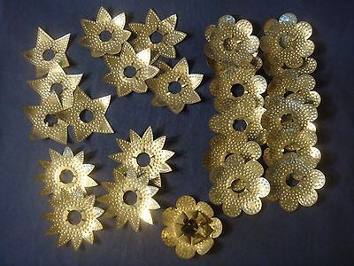 25 Vintage Antique Punched Tin Stars & Petals Christmas Tree Light Reflectors