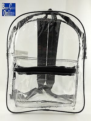 "15"" Clear Security Backpack Safe To Use Material Free Shipping"