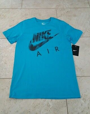 New Nike Youth Boys Graphic Cotton Turquoise Short Sleeve T-Shirt Medium