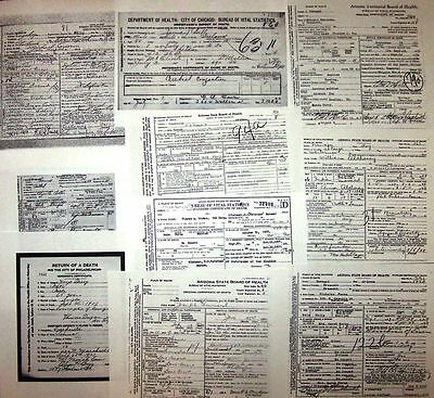 10 Indian Wars MOH DEATH CERTIFICATES CMOH Medal of Honor 5th,6th,7th US Cavalry