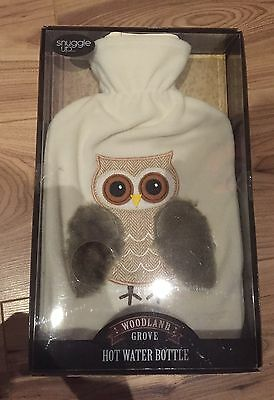 Full Size Woodland Grove Hot Water Bottle in lovely Soft Cover with Owl design