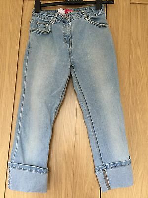 Girls Demin Jeans Trousers 3/4 Length From Evie Age 12-13 Light Blue