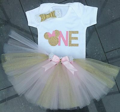 Baby girl first 1st birthday tutu outfit cake smash Minnie mouse pink gold one