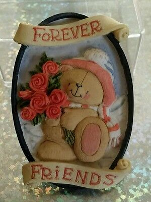 Forever Friends Vintage Ceramic Plaque Magnet - Christmas Bear with Roses