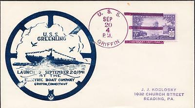 WWII Submarine USS GREENLING SS-213 LAUNCHING 1941 Naval Cover