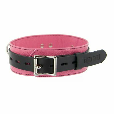 Strict Leather Deluxe Locking Collar, Pink and Black Bondage BDSM