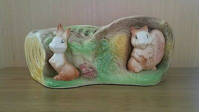 Eastgate Withernsea Pottery Fauna Posy Vase E.92. Rabbit And Squirrel