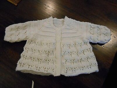 Newborn  Baby's Ivory Lace Matinee Jacket & Bootees. Size 0000. Gorgeous.