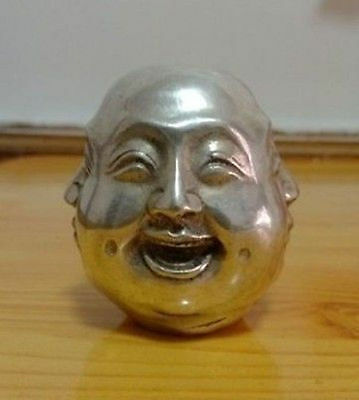 Chinese tibet silver carved 4 face Buddha decoration