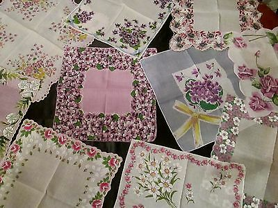 lot of 10 Vintage Fancy Purple Floral hankies many unused, linens, finer quality