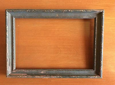 "Vintage Wooden Picture Frame, Old, Hand Carved (9 1/2"" x 7"" x 3/4""), Unusual"