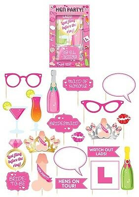 Hen Night Party Pack of 20 Fun Photo Props Selfie Photo Booth Accessories