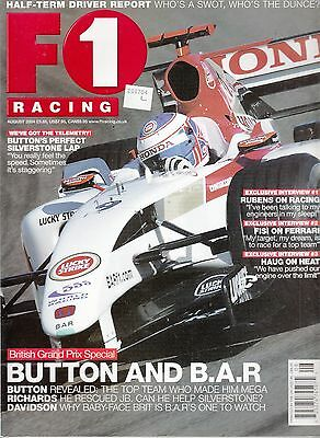 F1 Racing Magazine; August 2004 Jenson Button at B.A.R.