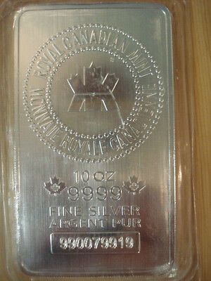 Royal Canadian Mint 10 OZ Silver bar .9999 pure