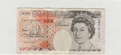 Old British Pound 10 Bank Of Englandand, Year 1993 Rare