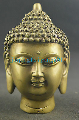 Chinese collectable copper handwork carve devout buddha noble statue
