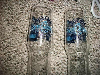 set of 2 Sweetwater Brewing Company Waterkeeper ale fish glasses mug gift unique