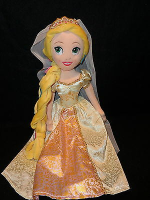 "Disney Store Tangled RAPUNZEL Plush Doll 20"" Tall Wedding Day Bride Princess"