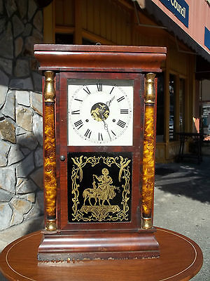 Outstanding Empire Mahogany Clock With Brass Works By Seth Thomas19th century.