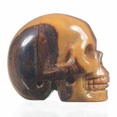 "0.98"" Natural Iron Tiger Eye Carved Smiling Skull,Collectibles#22O90"