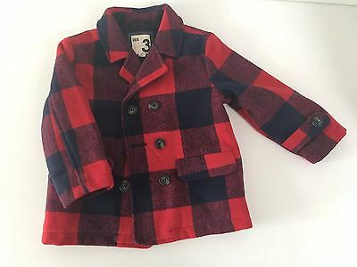 Cotton On Kids Winter Red Check Jacket Sz 3
