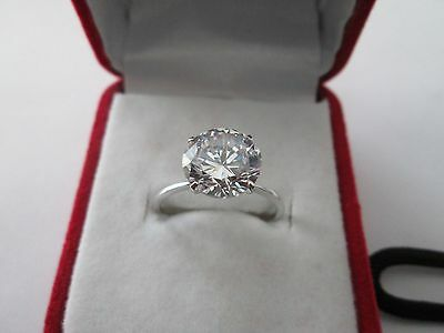 3ct Brilliant Round-Cut Diamond Solitaire Engagement Ring 14K Real White Gold