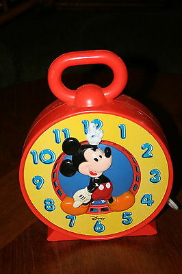 Vintage 1981 Disney Mickey Mouse Talking Time Clock Large Plastic w/ Pull String