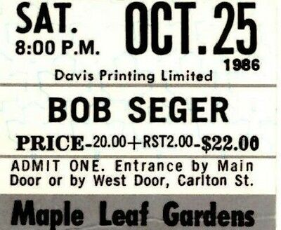 Bob Seger Vintage 1986 Unused Concert Ticket - Maple Leaf Gardens.