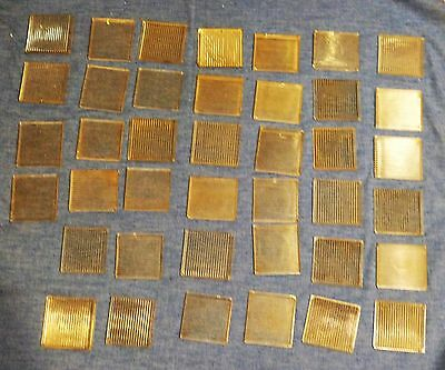 Vintage Lot of 40 Salvaged Glass Sawtooth Prism Tiles cut one side