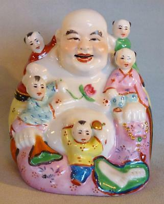 CHINESE Porcelain Laughing BUDDHA & Children Statue ~ Vintage 20th Century
