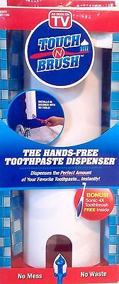 New As Seen On TV Touch N Brush Hands-Free Toothpaste Dispenser + Toothbrush,NIB