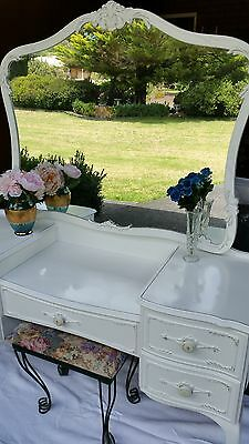 Queen Anne Dressing table with mirror and drawers- Burgess manufacturer. & Stool
