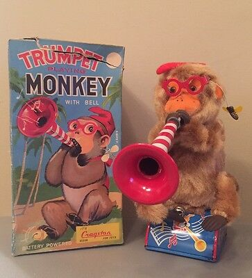 Vintage Rare Battery Operated Litho Trumpet Playing Monkey 1950's Cragstan Toy