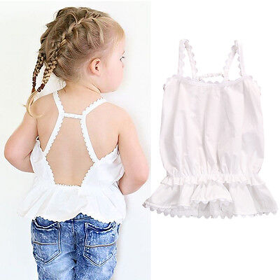 Infant Baby Girls Summer Vest Tank Tops Casual Sleeveless Backless T-shirt Top